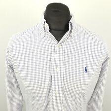 Ralph Lauren Mens Shirt MEDIUM Long Sleeve White Custom Fit Check Cotton