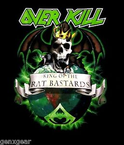 OVERKILL cd lgo KING OF THE RAT BASTARDS Official SHIRT SMALL white devil armory