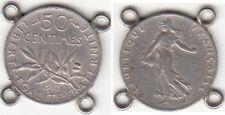 Monnaie Française 50 Centimes Argent Semeuse 1917