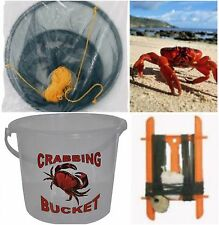 SET OF 1 CRAB NET with bait bag, crab line and Bucket Crabbing Drop Net Pier Kid