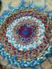 Vintage Handmade Round Braided Rug Table Top Topper Blue Red Green Gray White