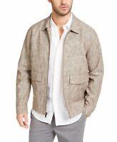 Tasso Elba Mens Jacket Brown Size Large L Vieste Front Zip Bomber $100 #066