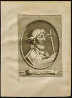 1749 - Retrato de Canuto El Grande ( Knut O Canuto The Great ). Grabado