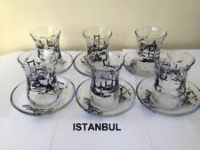 ✔Traditional Turkish Tea Set Glass Cups & Saucers Istanbul Patterned 12pcs UK✔