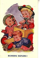 CI92.Vintage Comic Postcard. Running Repairs. Children mending Go Kart