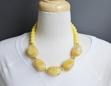 "Yellow chunky big stone plastic bead collar bib statement necklace 20"" 22"" long"