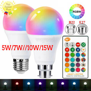 E27 B22 RGB Bulb Led Light Color Changing Bayonet Screw Lamp with Remote Control