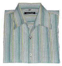 Herrenhemd Freizeit Hemd Langarm JUPITER Gr. 41/42 grün/grau/olive gestreift