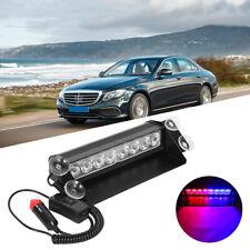 8 LED Car Strobe Flash Light Red/Blue Dash 3 Modes Police Warning Flashing Lamps