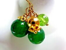 Green Jade Cluster Earrings Green Gemstone Dangle Earrings Kate Middleton style
