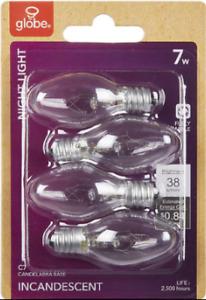 Globe  Clear  Night Light  Bulbs  7w  Candelabra  C7  4-Pack  New