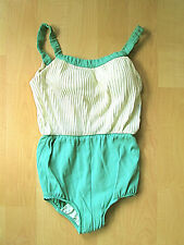 Vtg 50's Jantzen jadeite green cream pin up bathing suit swimsuit 14