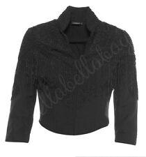 KATE MOSS TOPSHOP Black Bead Embellished Fringe Fitted Crop Trophy Jacket 10 38