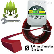 Strimmer Trimmer Brush Cutter Line 3mm Square 3.0mm Electric Spool Refil 15m