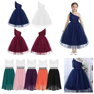 Kids Flower Girls Dress Princess Wedding Bridesmaid Birthday Lace Bowknot Maxi