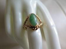 14K Yellow Gold Jade Ring Size 8.75 (#616)