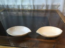 Set of 2 Lenox Solitaire Ivory Gold Rim Small Salt Dishes