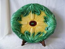 Large Old Majolica Pottery Corn Tray