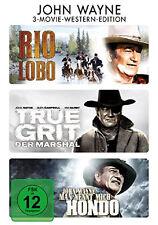 3 DVDs * JOHN WAYNE ~ RIO LOBO / TRUE GRIT / MAN NENNT MICH HONDO # NEU OVP =