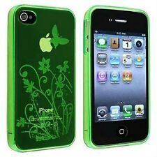 iPhone 4 4G 4S Transparent TPU Gel Case / Cover- Butterfly and Flowers - Green