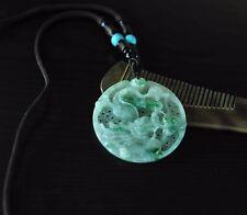 "Certified Grade Apple Green Icy Dragon Jadeite Jade Pendant Necklace 28"""