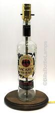 BACARDI OAKHEART RUM Liquor Bottle TABLE LAMP Light & Wood Base Bar Lounge Decor