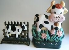 Cast Iron Metal Holstein Cow Country Kitchen Lot Door Stop Napkin Letter Holder