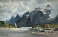 G. A. Schweitzer *1847 Ölgemälde Ölbild alt antik Meer Norwegen Fjord Landschaft