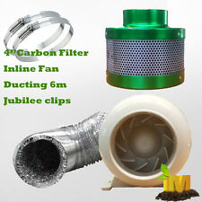 "4"" 100mm Ventilation Kit Inline Fan Carbon Filter Ducting Hydroponics Extractor"
