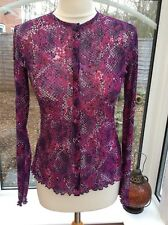 Vintage 90s Pink & Purple Spotty Sheer Top - Size S 8-10 - Grunge VTG Mesh