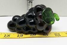 Vintage Blown Art Glass Purple Grape Cluster Fruit 4 Inch Long Decor