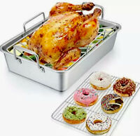 Roasting Pan with Rack P&P CHEF 14 Inch Stainless Steel Roaster Lasagna Pan