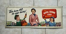 Vintage Original 1950's RC Royal Crown Cola Nehi Cardboard Litho Soda Sign