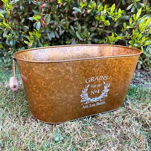 Antique Brass Tin Metal Tough Window Box Garden Plant Flower Herb Planter 37cm
