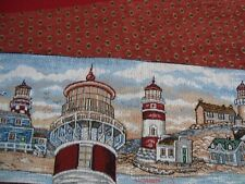 """NEW 2 pc TAPESTRY LIGHT HOUSE DRAFT GUARD BLOCK FABRIC PIECE PANELS 37"""" x 7"""" Red"""