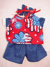 "New 14"" PATRIOTIC BLOUSE, Denim SHORTS, Bows Cabbage Patch Kid Baby Doll CLOTHES"