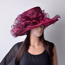 Luxury Women's Hat Wine Red Bridal Organza Wedding Horse Racing OCASIONAL