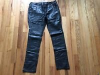 Women's skinny black City Streets low rise vegan leather jeans size 30