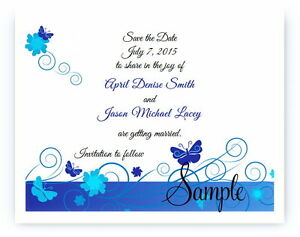 100 Personalized Custom Blue Butterflies Wedding Save The Date Cards Butterfly