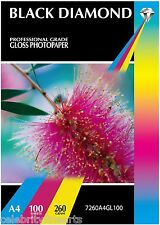 SALE 100 Sheets Black Diamond Professional A4 Gloss Inkjet Photo Paper 240gsm