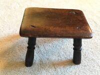 Antique English Wooden Stool Small Folk Art 19th Century