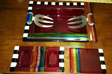 5 pc. Studio crafted Fused Glass serving bowls signed rainbow red jubilee party