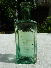 Small Distorted 11.5cm Antique Green Glass Bottle Old Victorian Excellent Cond