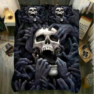3D Smoky Grey Rebirth Skull Bedding Set Duvet Cover Comforter Cover Pillow Cases