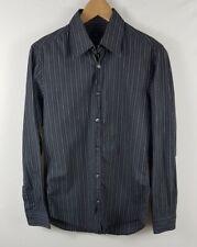 Mens Hugo Boss Dress Shirt 38/39 S Small Slim Fit Black Blue Long Sleeved