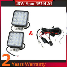 2X 48W LED Work Light SPOT Vehicle F134 Truck Offroad UTE +Wiring Harness Kit