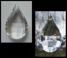 Crystal FACETED DROPLET PRISM 50mm CLEAR TEARDROP PENDANT Suncatcher CHANDELIER