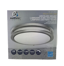 Energetic 14-inch Double Ring LED Flush Mount Ceiling Light, 24w Dimmable