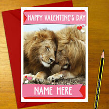 LIONS Personalised Romantic Card - love valentine's day anniversary cat wildlife