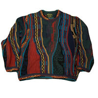 Tosani Mens Cosby Coogi Style Sweater Size Medium Dark Colors